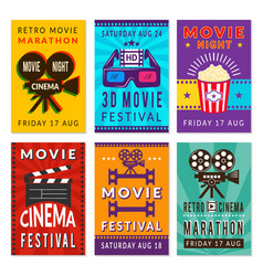 template of cinema cards designs vector image
