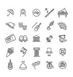 Theater linear icons theatre collection of vector