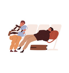 Tired passengers with suitcases sleeping in chairs vector