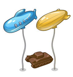 Two balloons in form of airship and chocolate tank vector