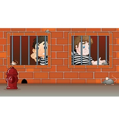 Two boys inside the jail vector image
