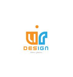 Ur u r orange blue alphabet letter logo vector