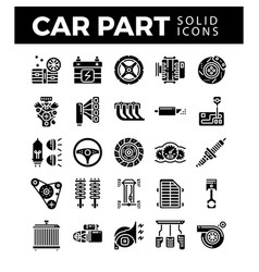 Vehicle and car parts solid icons pixel perfect vector