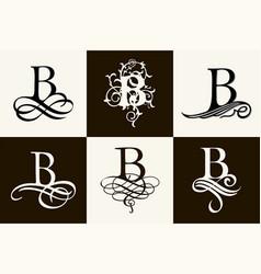 Vintage set capital letter b for monograms vector