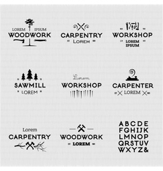 Vintage woodwork logotypes vector