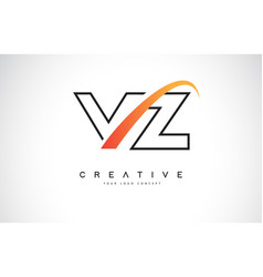 vz v z swoosh letter logo design with modern vector image