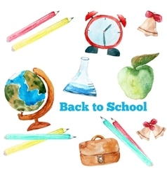 Watercolor back to school poster with vector
