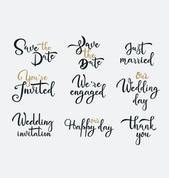 wedding invitations white handwritten vector image