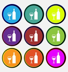 Wine Icon sign Nine multi colored round buttons vector image