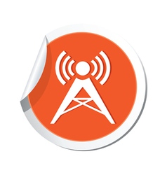 wireless icon orange sticker vector image