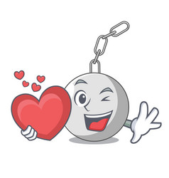 With heart wrecking ball isolated on a mascot vector