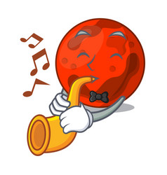 With trumpet mars planet mascot cartoon vector