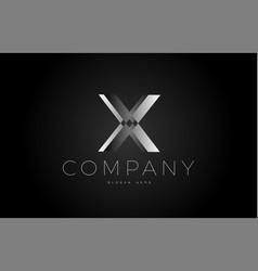 X black white silver letter logo design icon vector