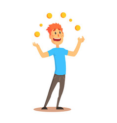 Young man character juggling with orange balls vector