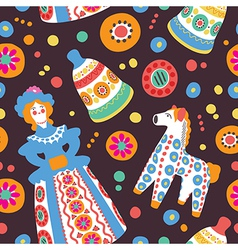 Russian souvenir Dymkovo toys seamless pattern vector image