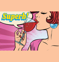 super reaction woman drinking red wine vector image vector image