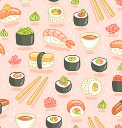 Sushi and rolls seamless pattern on pink vector image vector image