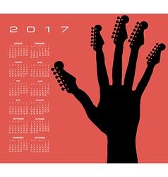 2017 guitar hand calendar vector image vector image