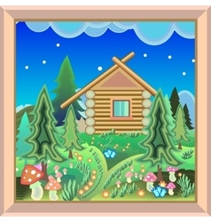 Country House in the magic forest picture in the vector image