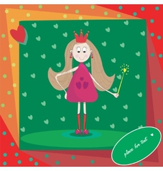 little princess with magic wand and hearts vector image vector image