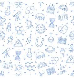 Science research pattern blue icons vector image vector image