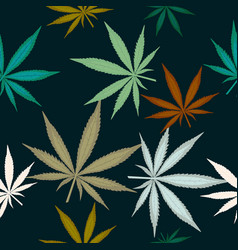 seamless pattern with leaves of marijuana on dark vector image vector image