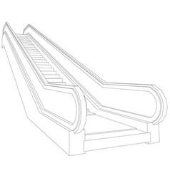 Wire-frame escalator vector