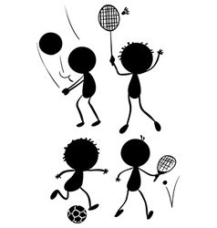 Different sport activities in its silhouette forms vector image vector image