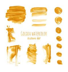 Gold watercolor brush stroke smear texture vector