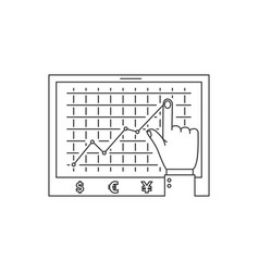 Growth chart line icon vector