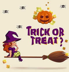 Halloween with witch on broom vector image