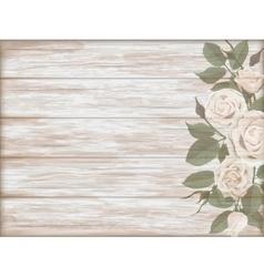 Vintage wooden background white rose bud vector image