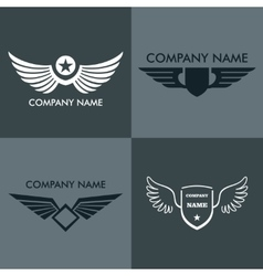 Wings logo for company on gray background vector image vector image