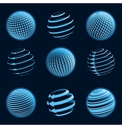 blue planet icons vector image vector image