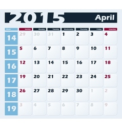 Calendar 2015 April design template vector image vector image