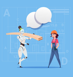 Cartoon female builder working with robot carry vector