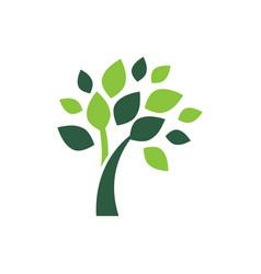 minimalist green tree logo symbol vector image