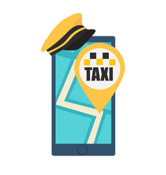 online taxi booking phone with hat and map vector image vector image
