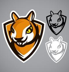 squirrel shield brown logo emblem vector image