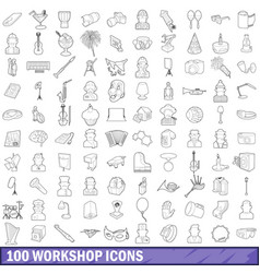 100 workshop icons set outline style vector image