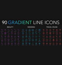 90 trendy gradient style thin line icons set of vector image