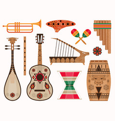 Aztec and mexican ethnic musical instruments set vector