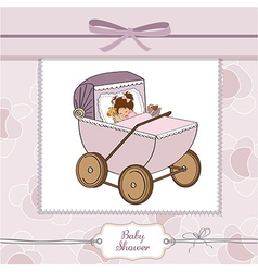 Baby girl shower card with retro strolller vector
