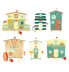 Beach Huts on Seafront Set Isolated vector
