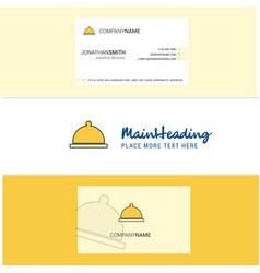 beautiful food dish logo and business card vector image