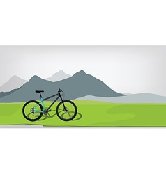 Bicycle in mountan landscape vector