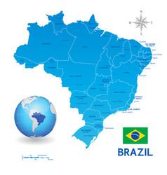 Blue administrative brazil map vector