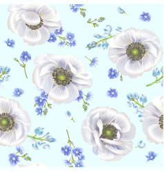 Blue anemone pattern vector