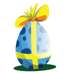 blue easter egg decorated with a bow web on a vector image
