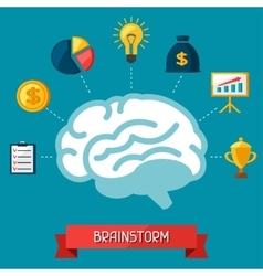 Brainstorm business and finance concept flat vector
